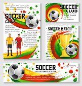 Soccer Sport Club Team Banner Template Of Football Championship Match. Soccer Ball, Player, Golden W poster