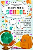 Welcome Back To School Poster On Checkered Copybook Pattern Background With Globe And School Bag. Ve poster