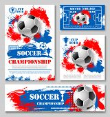 Soccer Sport Championship Cup Poster Template Of College Football Team. Soccer Ball, Winner Trophy A poster