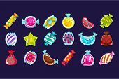 Collection Of Various Colorful Candies In Glossy Wrapper. Graphic Design For Computer Or Mobile Game poster