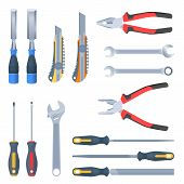 Builder, Repair And Construction Hand Tool Set. Flat Illustration Of Pliers, Adjustable Spanner, Wre poster