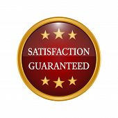 Satisfaction Guaranteed Badge On White Background. poster