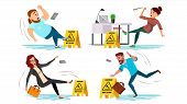 Caution Wet Floor Sign Vector. People Slips On Wet Floor. Situation In Office. Danger Sign. Clean We poster