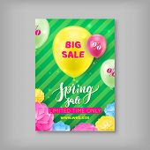 Spring Sale Banner. Handrawn Inscription Spring Sale. Season Sale, Limited In Time Offer. Vector Ill poster