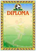 Soccer Diploma Achievement. Third Degree Blank Template. It Can Be Use As Design For Honor, Award Or poster