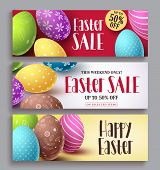 Easter Sale And Happy Easter Vector Banner Design Set With Colorful Eggs Elements. Easter Design Tem poster