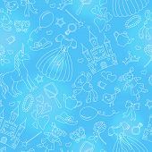 Seamless Pattern On The Theme Of Hobbies Baby Girls, Simple Contour Icons, Light Contour On Blue Bac poster