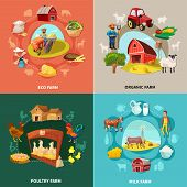 Four Squares Farm Cartoon Concept Set With Eco Organic Milk And Poultry Farms Descriptions Vector Il poster