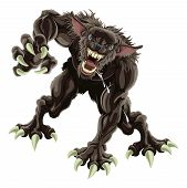 picture of wolfman  - A fearsome werewolf monster attacking the viewer - JPG