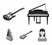 Musical Instrument Monochrome Icons In Set Collection For Design. String And Wind Instrument Isometr poster
