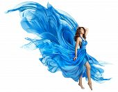 Woman Flying Blue Dress, Elegant Fashion Model In Fluttering Gown On White, Art Fabric Fly And Flutt poster