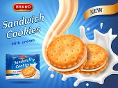Sandwich Cookies Ads. Delicious Vanilla Cream Flow. Cracker Drop In Milk Splash. Package Design Temp poster