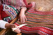 Traditional Handmade Wool Production In Cusco Peru. Colorful Alpaca Clothing Making Factory poster