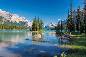 Beautiful Spirit Island In Maligne Lake, Jasper National Park, Alberta, Canada. poster
