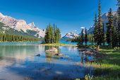 Beautiful Spirit Island In Maligne Lake, Jasper National Park, Alberta, Canada. poster