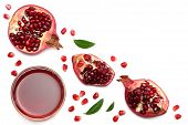 Pomegranate Juice With Pomegranate Isolated On A White Background Top View poster
