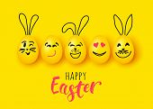 Easter Eggs And Rabbit Funny Vector Characters For Banner Poster Greeting Card poster