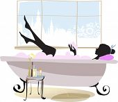 Woman in bathtub. All elements and textures are individual objects. Vector illustration scale to any