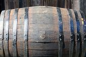 image of close-up  - Close up of old barrel with iron hoops - JPG