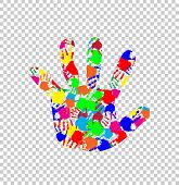 Rainbow Multicolored Silhouette Of Baby Hand With Colorful Handprint Pattern Inside Isolated On Tran poster