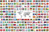Vector Set Of All World Flags Arranged In Alphabetical Order Isolated On White Background. World Map poster