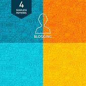 Line Blogging Patterns. Four Vector Blog Post Website Design Backgrounds. poster