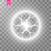 Transparent Light Effect Of Electric Ball Lightning. Magic Plasma Ball.vector Illustration. Eps 10. poster