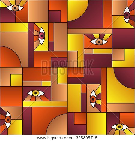 poster of Stylish Pattern With Eyes In Geometric Shapes Grid Scandinavian Fashion Retro Textile Print. Modern