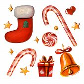 Yellow Stars, Red Heart, Caramel Cane, Lollipop, Golden Bell With Red Ribbon, Red Sock With Green Ch poster