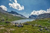 Hdr Panorama Of Classic Swiss Hike Over The Gemmi Pass From Leukerbad To Kandersteg poster