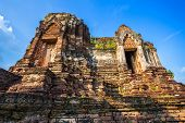 Old Buddhist Broken Pagoda Temple Built In Red Brick And Stones In Wat Chulamanee Is A Buddhist Temp poster
