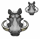 Warthog Boar Animal Vector Icon With Head Of Wild Pig Or African Razorback Hog With Curved Tusks, An poster