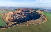 Aerial View Of Machinery In Open Gravel Pit Mining. Processing Plant For Crushed Stone And Gravel. M poster