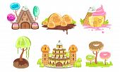 Candy Land Set, Sweet Fantasy Landscape Elements, Castle, House, Trees And Plants, Computer Or Mobil poster