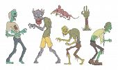 Walking Zombies Set, Undead People And Animals, Zombie Apocalypse Vector Illustration poster