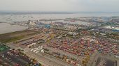 Aerial View Container Terminal Port Surabaya. Cargo Industrial Port With Containers, Crane. Tanjung  poster