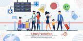 Family Vacation Travelling Advertising Poster. Two Married Couples With Children And Luggage In Airp poster