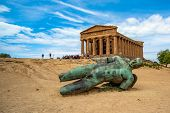Temple Of Concordia And The Statue Of Fallen Icarus, In The Valley Of The Temples, Agrigento, Sicily poster