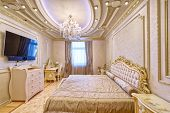 Luxurious Interiors In A Modern House.designer Modern Renovation In A Luxury House. Stylish Bedroom  poster