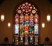picture of stained glass  - Stained Glass Window Depicting the Story of the Road to Emmaus - JPG