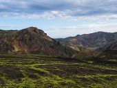 Colorful Rhyolit Mountain Panorma With Multicolored Volcanos In Landmannalaugar Area Of Fjallabak Na poster
