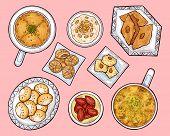 Arab Sweets Top View. Arabian Ramadan Food Kunafa, Maamul, Rice Pudding. Oriental Cuisine Pastry On  poster