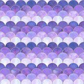 Mermaid Fish Scale Wave Japanese Magic Seamless Pattern. Watercolor Hand Drawn Purple Color Backgrou poster