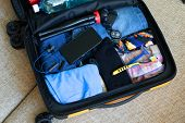 Mens Things Packed In A Open Suitcase. Top View. Business Trip. Luggage And People Concept. The Tra poster