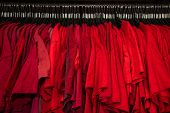 Red T-shirts on hangers on a shop wardrobe closet rail poster