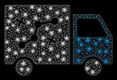 Glowing Mesh Route Van With Glare Effect. Abstract Illuminated Model Of Route Van Icon. Shiny Wire C poster