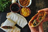 Homemade Shawarma With Vegetables. Vegan Shawarma. Middle Eastern Style. poster