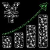 Bright Mesh Yen Growth Trend With Glare Effect. Abstract Illuminated Model Of Yen Growth Trend Icon. poster
