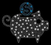 Glowing Mesh Piggy Bank With Sparkle Effect. Abstract Illuminated Model Of Piggy Bank Icon. Shiny Wi poster