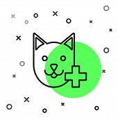 Black Line Veterinary Clinic Symbol Icon Isolated On White Background. Cross With Cat Veterinary Car poster